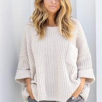 True Beauty Beige Oversized Chenille Sweater