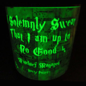 Glow in the dark Mug, Harry Potter Mug, Night Light Mug, Magic Mug, phosphorescent mug, Marauders Map,  Mischief Managed, Harry Potter gift