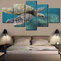 5 Panel Tortoise Modern Home Wall Decoration Painting Canvas Wall Picture For Home Decor