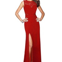 Red Maxi Dress With Lace Insert