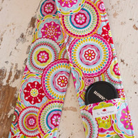 DSLR Camera Strap Cover- lens cap pocket and padding included- Bright Bloom