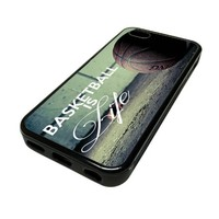 Apple iPhone 5C 5 C Case Cover BasketBall Is Life Baller Quote Cute DESIGN BLACK RUBBER SILICONE Teen Gift Vintage Hipster Fashion Design Art Print Cell Phone Accessories