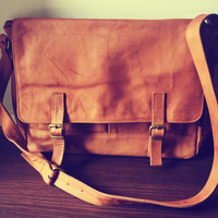 Leather satchel, computer work tote bag. Shoulder strap with lots of compartments and pockets for everything. Classic messenger style.