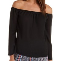 Off-the-Shoulder Chiffon Top by Charlotte Russe