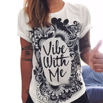 Fashion Summer Women Cotton Floral Printed Black Floral Printed White Loose Alphabets Words Top T-Shirt _ 10630