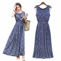 2017 Vintage Floral Print Women Summer Bohemia Sleeveless Dresses Boho Long Maxi  Beach Sundress Dress Vestidos Plus Size