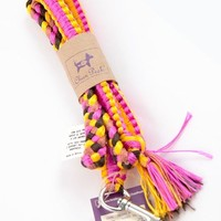 YELLOW AND PINK NYLON DOG LEASH