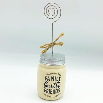 Family Faith Friends Mason Jar Photo Holder