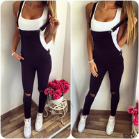 women bandage sexy spring autumn jumpsuit black casual skinny overalls hole button pocket pencil slim femme romper
