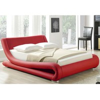 California King Red Faux Leather Platform Bed with Curved Headboard