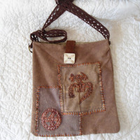 Handmade Ucycled Brown Hippie Purse Carved Bone Pendant Crossover Bag boho bohemian gypsy cowgirl glam southwest lined leather closure patch