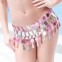 Pink Crystal Rhinestone Mini Skirt