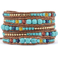 Graduated Stone with Gold Color beads Wrap Bracelets Leather Boho Bracelet with Stones Leather Jewelry