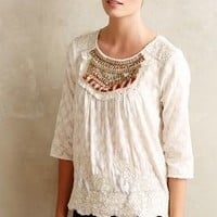 Jeweled Peasant Blouse by Moulinette Soeurs Ivory
