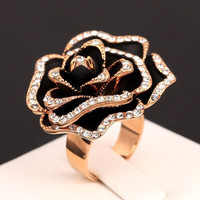 Hot Sale Exaggerated Rose Vintage Rings 18K Rose Gold Plated o CZ Diamond Rock The Finger Ring Wedding Jewelry For Women DFR326