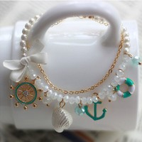 Extra Rudder Anchor Pearl Shell Bowknot Bracelet
