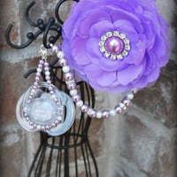 4 in 1 Lilac Pearl Pacifier Jewelry Clip