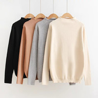 Winter Korean Stylish Vintage Long Sleeve Pullover High Neck Knit Tops Sweater [9125811204]