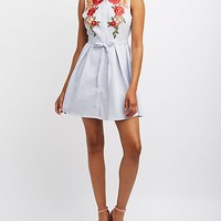 Embroidered Striped Button-Up Skater Dress