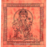 Large Orange Tie Dye Lord Ganesha Tapestry Wall Hanging on RoyalFurnish.com