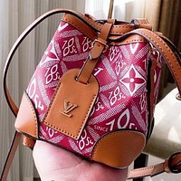 LV New fashion monogram print leather shoulder bag crossbody bag bucket bag Red