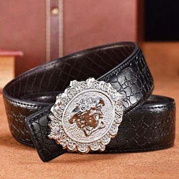 Versace New fashion human head buckle texture leather couple belt