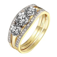 3 Solitaire CZ Ring Wedding Ladies Round Cut 3pc Band Style Gold Over 925 Silver