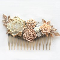 Pemberly - Large Rose Gold Wedding Hair Comb