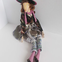 Ophelia, a handmade cloth art doll, brown hair, handsewn, handpainted, OOAK art fabric doll, elegant, shakespeare character by mademeathens.