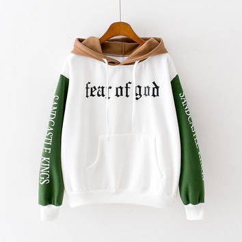 Fear Of God Womens Brown White Green Black Hooded Sweatshirt New Embroidery Stitching Thickened Cashmere Hoodie Casual Short Female Pullover