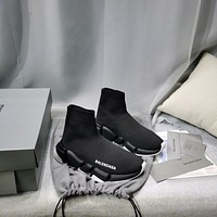 Balenciaga  Trending Women's men Leather Side Zip Lace-up Ankle Boots Shoes High Boots