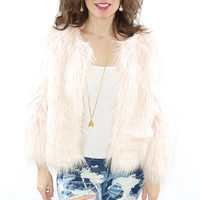 Pink Shaggy Fur Jacket