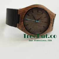 Personalized Minimalist Engraved Wooden Watch with Genuine Leather, Mens watch, Groomsmen gift, Wood Watch Bamboo Watch HUT22-31
