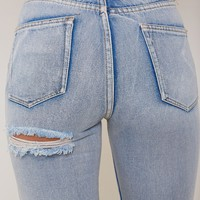 Kim High Waisted Mom Ripped Bum Jeans Blue - Jeans - Shop by Category - Clothing | LASULA