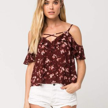 CHLOE & KATIE Floral Ruffle Womens Cold Shoulder Top | Tanks