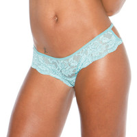 Stretch Lace Strappy Back Thong Panty Spearmint Md