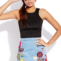 Throwback Patches Denim Skirt