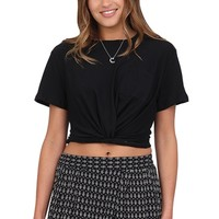 Black Twisted Front Tee at Blush Boutique Miami - ShopBlush.com : Blush Boutique Miami – ShopBlush.com