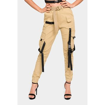 High Rise Utility Strap Cargo Joggers