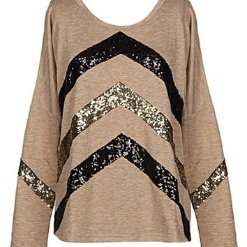 Chevron Glitz Top | Taupe Sequin Long-Sleeve Knit Tops | RicketyRack.com