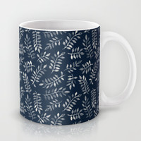 White Leaves on Navy - a hand painted pattern Mug by micklyn