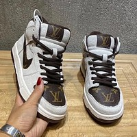 Nike air jordan Louis Vuitton LV SB dunk low pro series high-top sneakers (leather) non-slip fashion trend casual all-match sports shoes-1