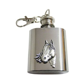 Textured Horse Head 1 Oz. Stainless Steel Key Chain Flask