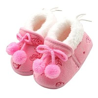 Sweet Newborn Baby Girls Princess Bowknot Winter Warm First Walkers Soft Soled Infant Toddler Kids Girl Cack Shoes Baby Shoes