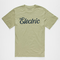 Electric Cursive Ii Mens T-Shirt Heather Green  In Sizes