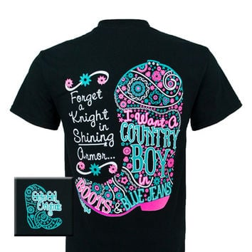 Girlie Girl Originals I Want A Country Boy Country Bright T Shirt