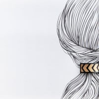 Reversible chevron gold leather hair cuff- double sided in black leather ponytail holder