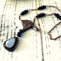 Raven Bird Head Necklace With Rainbow Moonstone