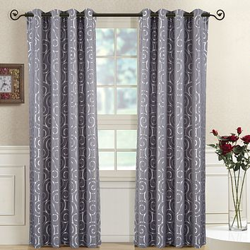 GRAY Pair (Two Panels ) Top Grommet Window Curtain Panels Abstract Jacquard Tuscany