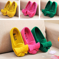 Fashion Casual Girls Children's Shoes Product Children Shoes Girls Single Bowknot Baby Flowers Princess Shoes Size 24-30 VY0008 salebags